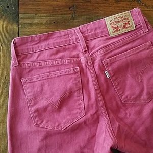 Levi Strauss 712 Slim Red Pink Jeans 26